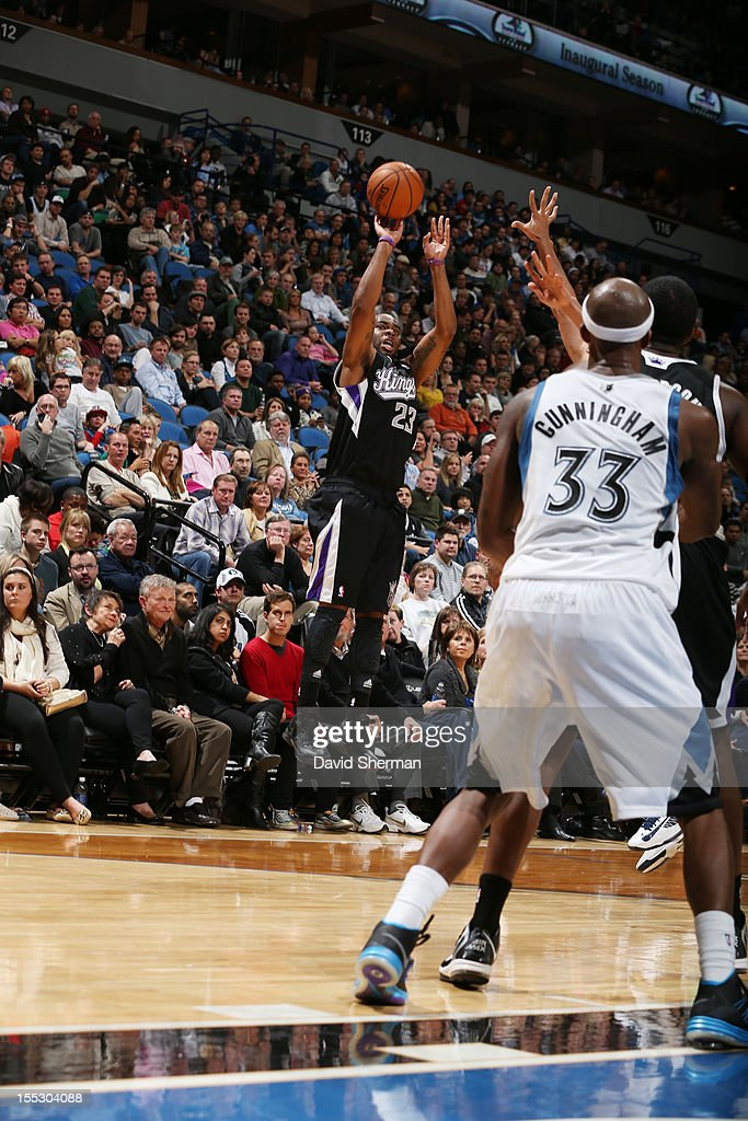 Marcus Thornton #23 of the Sacramento Kings attempts a three point shot against Minnesota Timberwolves during the season opening game on November 2, 2012 at Target Center in Minneapolis, Minnesota.