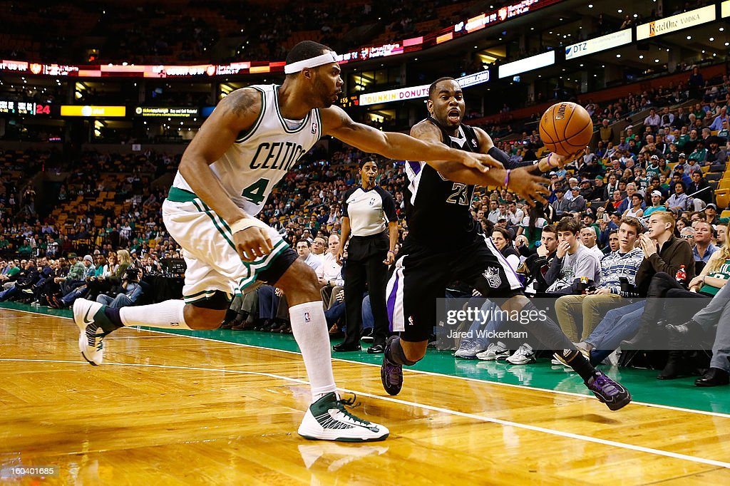 Marcus Thornton #23 of the Sacramento Kings attempts to get a rebound in front of Chris Wilcox #44 of the Boston Celtics during the game on January 30, 2013 at TD Garden in Boston, Massachusetts.