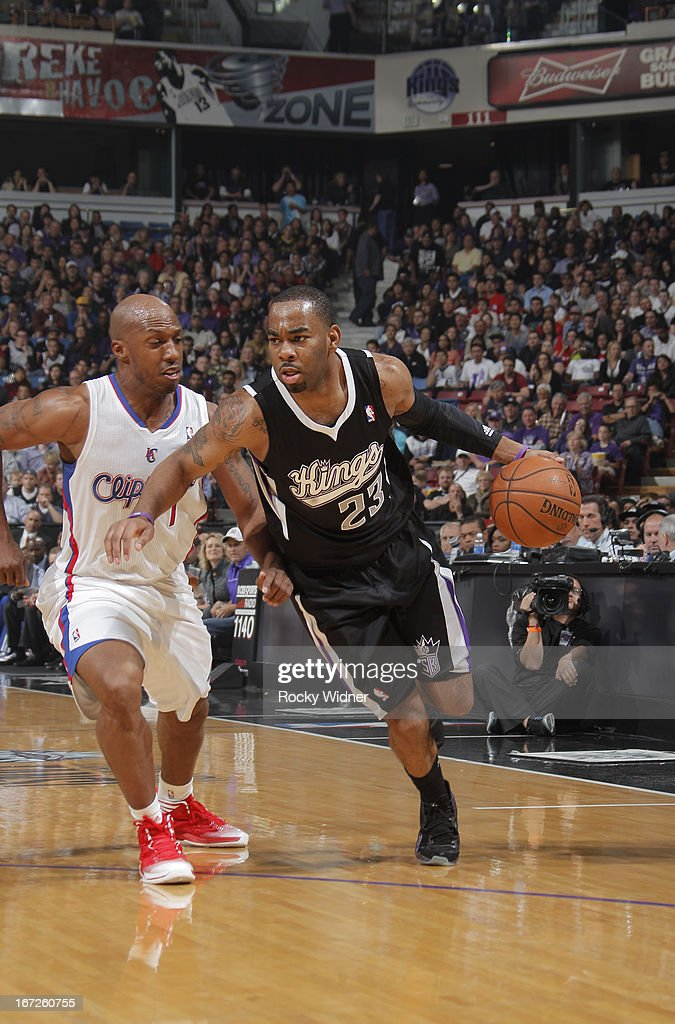 Marcus Thornton #23 of the Sacramento Kings drives against Chauncey Billups #1 of the Los Angeles Clippers on April 17, 2013 at Sleep Train Arena in Sacramento, California.