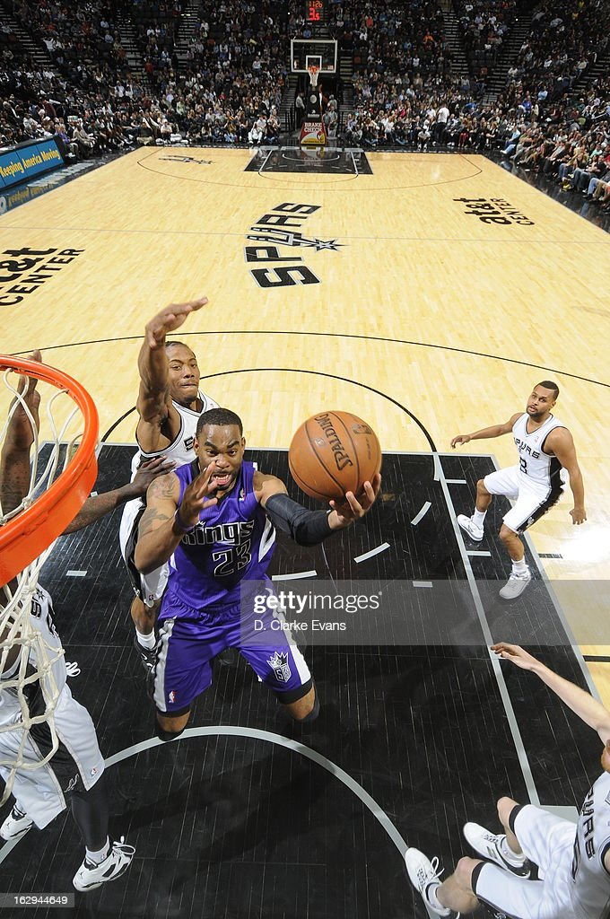 Marcus Thornton #23 of the Sacramento Kings drives to the basket against the San Antonio Spurs on March 1, 2013 at the AT&T Center in San Antonio, Texas.