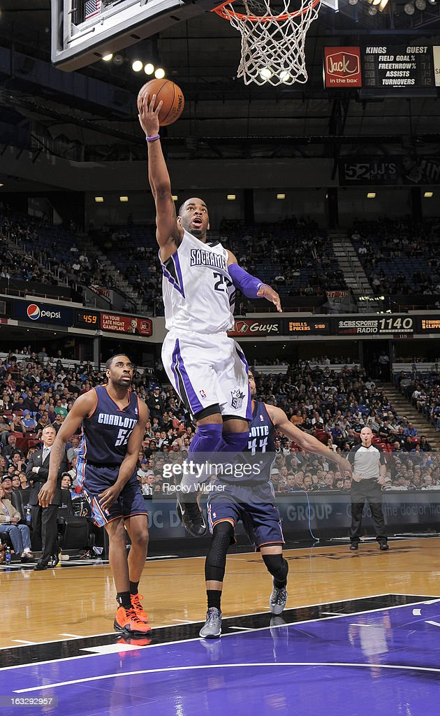 Marcus Thornton #23 of the Sacramento Kings drives to the basket against the Charlotte Bobcats on March 3, 2013 at Sleep Train Arena in Sacramento, California.
