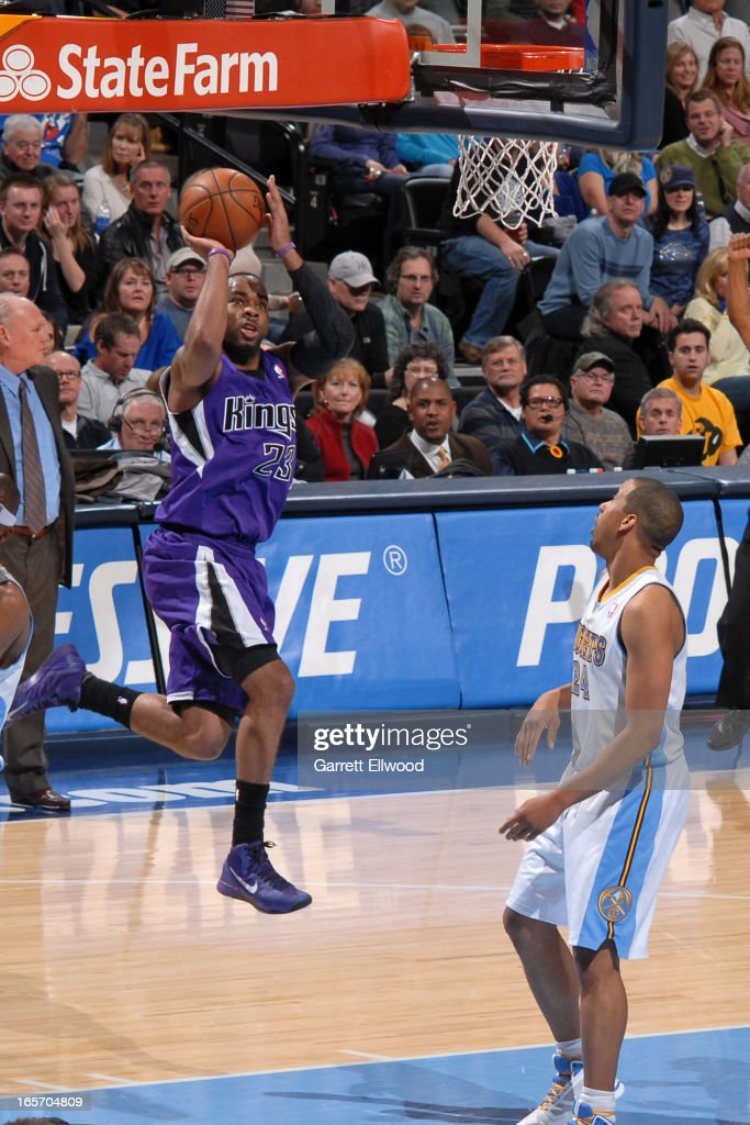 <a gi-track='captionPersonalityLinkClicked' href=/galleries/search?phrase=Marcus+Thornton+-+Basketball+Player+Born+1987&family=editorial&specificpeople=4679329 ng-click='$event.stopPropagation()'>Marcus Thornton</a> #23 of the Sacramento Kings drives to the basket against the Denver Nuggets on March 23, 2012 at the Pepsi Center in Denver, Colorado.