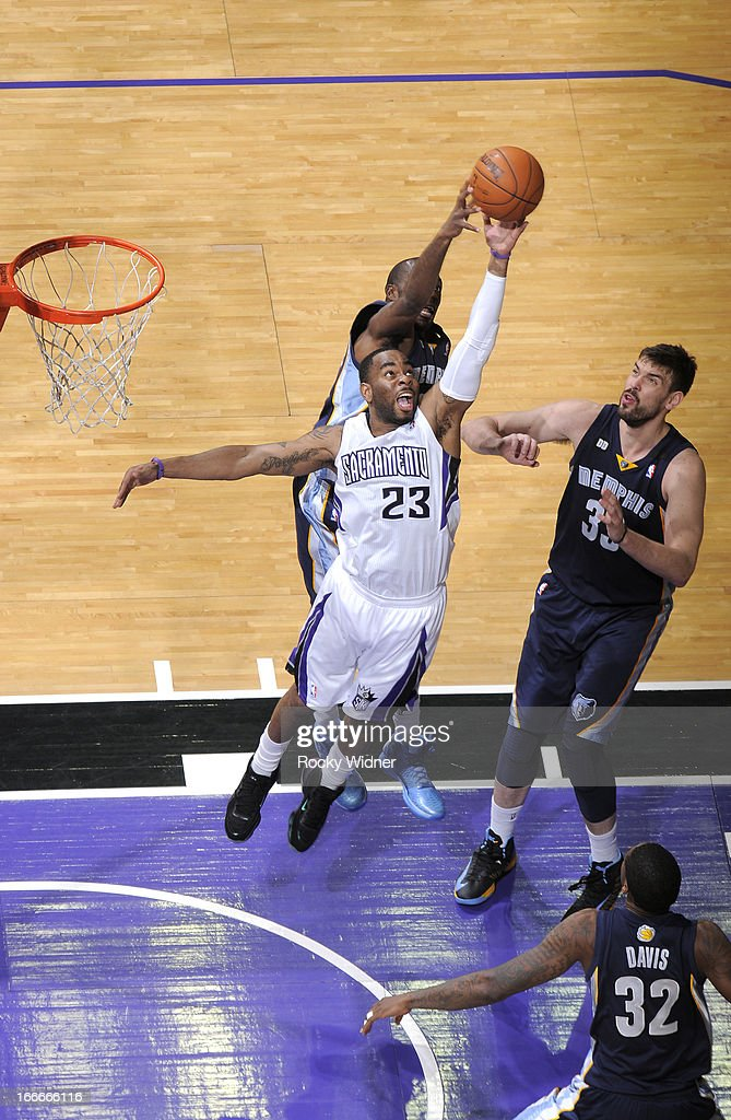 Marcus Thornton #23 of the Sacramento Kings goes after the rebound against the Memphis Grizzlies on April 7, 2013 at Sleep Train Arena in Sacramento, California.