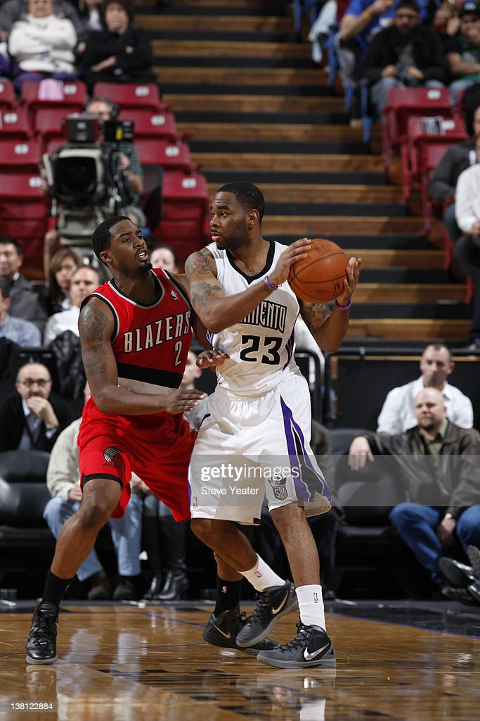 <a gi-track='captionPersonalityLinkClicked' href=/galleries/search?phrase=Marcus+Thornton+-+Basketball+Player+-+Born+1987&family=editorial&specificpeople=4679329 ng-click='$event.stopPropagation()'>Marcus Thornton</a> #23 of the Sacramento Kings guards the ball against <a gi-track='captionPersonalityLinkClicked' href=/galleries/search?phrase=Wesley+Matthews+-+Basketball+Player&family=editorial&specificpeople=804816 ng-click='$event.stopPropagation()'>Wesley Matthews</a> #2 the Portland Trail Blazers during a game at Power Balance Pavilion on February 2, 2012 in Sacramento, California.