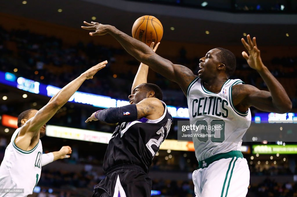 Marcus Thornton #23 of the Sacramento Kings puts up a shot in front of Brandon Bass #30 of the Boston Celtics during the game on January 30, 2013 at TD Garden in Boston, Massachusetts.