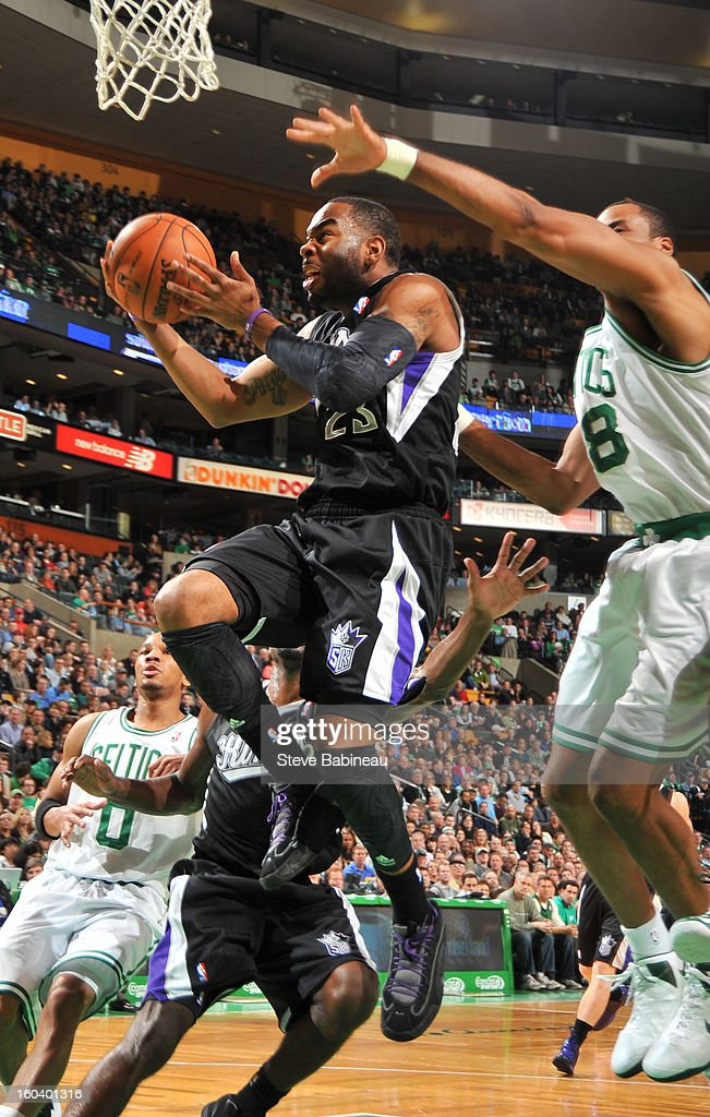 <a gi-track='captionPersonalityLinkClicked' href=/galleries/search?phrase=Marcus+Thornton+-+Basketball+Player+Born+1987&family=editorial&specificpeople=4679329 ng-click='$event.stopPropagation()'>Marcus Thornton</a> #23 of the Sacramento Kings shoots the ball against the Boston Celtics on January 30, 2013 at the TD Garden in Boston, Massachusetts.
