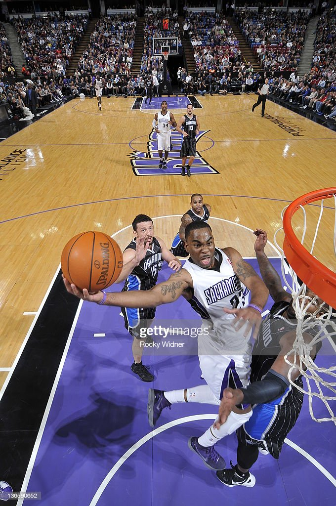 Marcus Thornton #23 of the Sacramento Kings takes the ball to the basket against the Orlando Magic during a game at Power Balance Pavilion on January 8, 2012 in Sacramento, California.