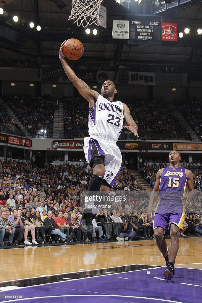 Marcus Thornton #23 of the Sacramento Kings takes the ball to the basket against the Los Angeles Lakers on November 21, 2012 at Sleep Train Arena in Sacramento, California.