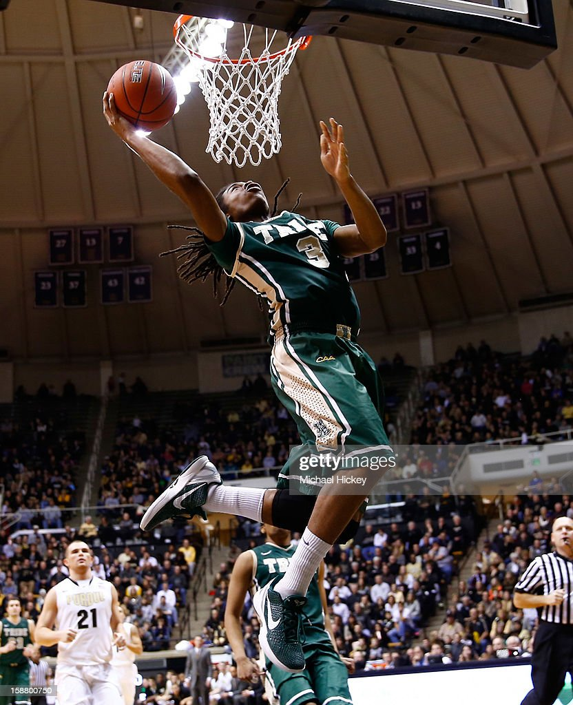 Marcus Thornton #3 of the William & Mary Tribe shoots the ball under the basket against the Purdue Boilermakers at Mackey Arena on December 29, 2012 in West Lafayette, Indiana. Purdue defeated William & Mary 73-66.