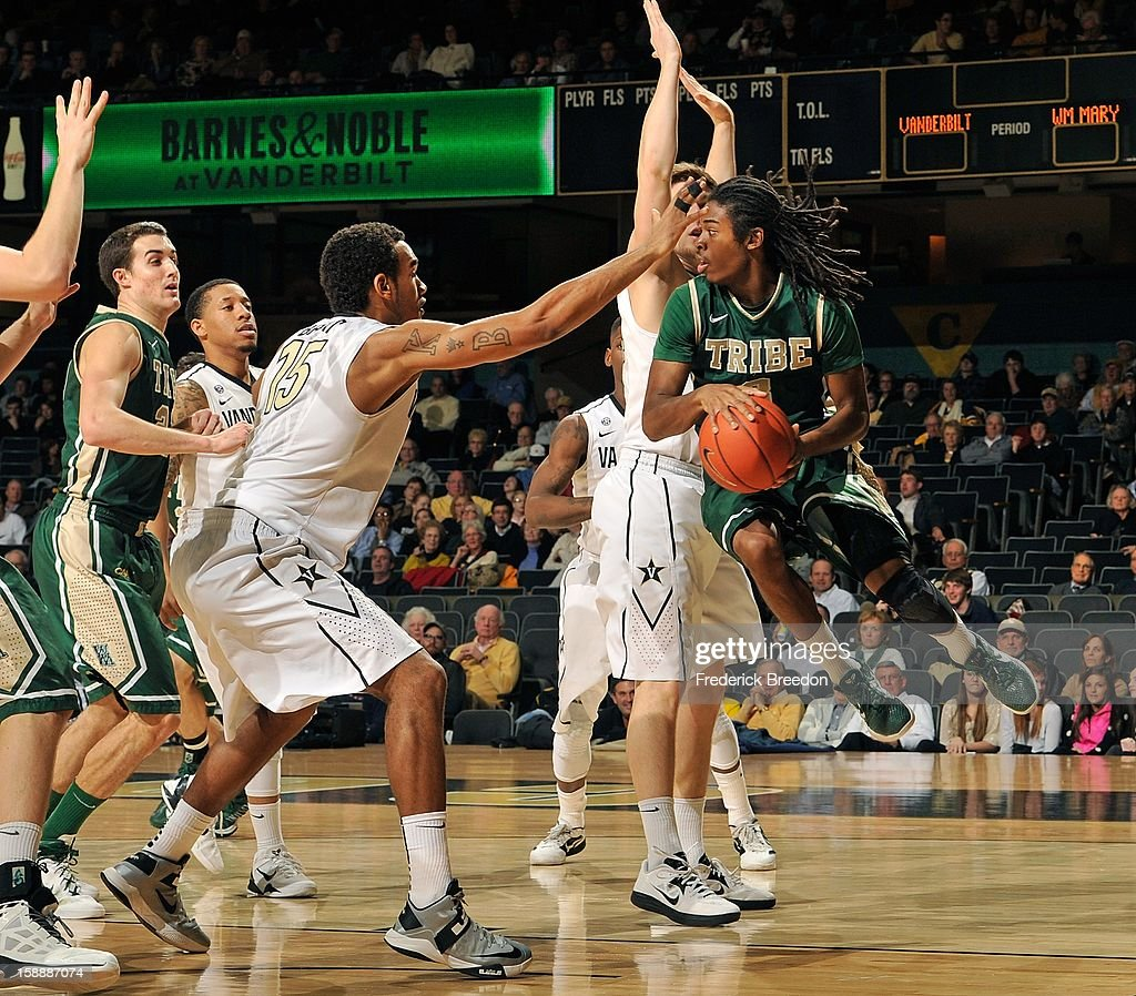 Marcus Thornton #3 of William & Mary looks to make a pass against the Vanderbilt Commodores at Memorial Gym on January 2, 2013 in Nashville, Tennessee.