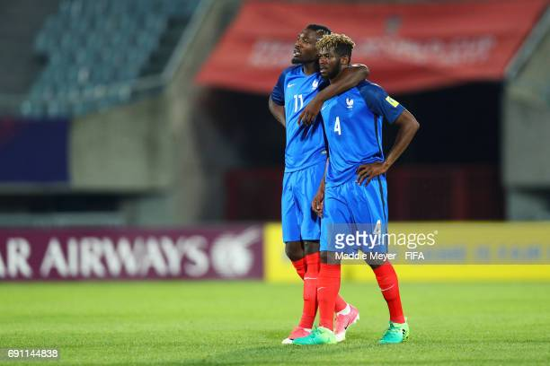 Marcus Thuram of France and Jerome Onguene react after France's 21 loss to Italy in the FIFA U20 World Cup Korea Republic 2017 Round of 16 match at...