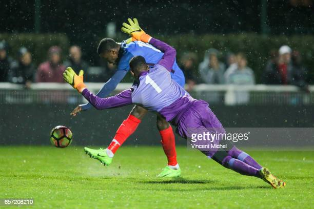 Marcus Thuram of France and Khadim Rassoul Ndiaye of Senegal during the friendly U20 match between France and Senegal on March 23 2017 in SaintMalo...
