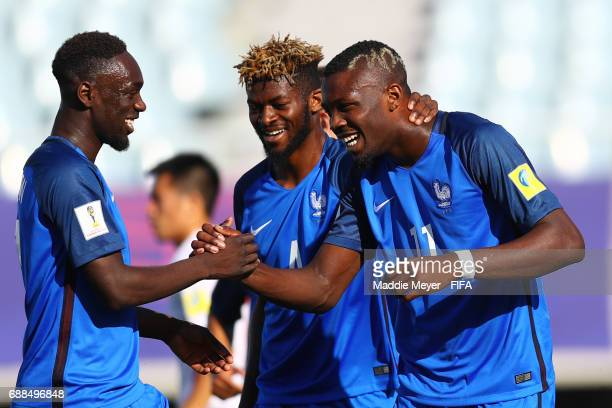 Marcus Thuram of France celebrates with JeanKevin Augustin and Jerome Onguene after scoring the teams first goal during the FIFA U20 World Cup Korea...