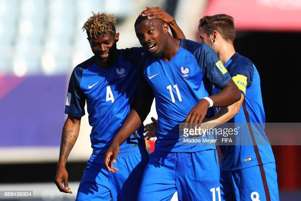 Marcus Thuram of France celebrates with Jerome Onguene after scoring a goal during the FIFA U20 World Cup Korea Republic 2017 group E match between...