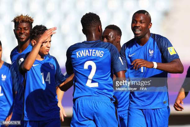 Marcus Thuram of France celebrates with teammates after scoring France's first goal during the FIFA U20 World Cup Korea Republic 2017 group E match...