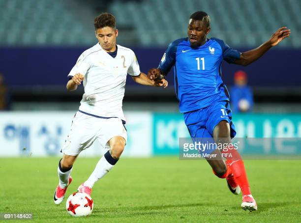 Marcus Thuram of France challenges Giuseppe Scalera of Italy during the FIFA U20 World Cup Korea Republic 2017 Round of 16 match between France and...