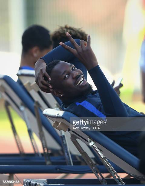 Marcus Thuram of France looks on during a training session at the Deokam Football Centre during the FIFA U20 World Cup on May 26 2017 in Daejeon...