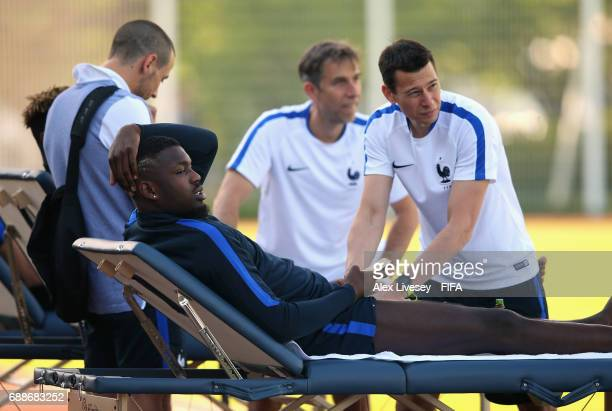 Marcus Thuram of France receives a massage during a training session at the Deokam Football Centre during the FIFA U20 World Cup on May 26 2017 in...