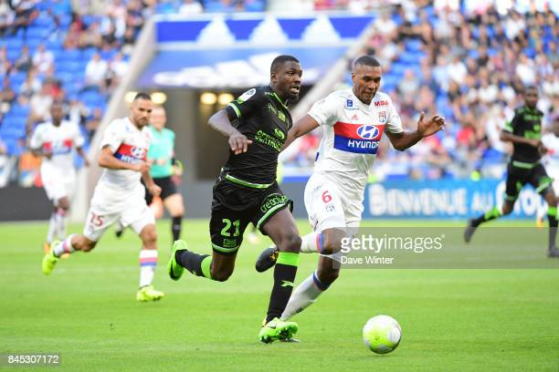 Marcus Thuram of Guingamp and Antonio Guedes Filho Marcelo of Lyon during the Ligue 1 match between Olympique Lyonnais and EA Guingamp at Parc...
