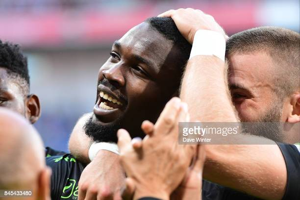 Marcus Thuram of Guingamp celebrates his equaliser during the Ligue 1 match between Olympique Lyonnais and EA Guingamp at Parc Olympique on September...