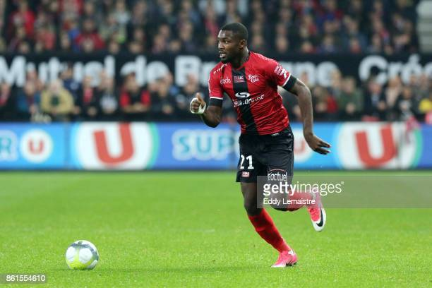 Marcus Thuram of Guingamp during the Ligue 1 match between EA Guingamp and Stade Rennais at Stade du Roudourou on October 14 2017 in Guingamp
