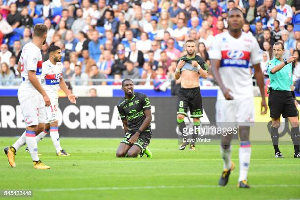 Marcus Thuram of Guingamp goes down injured during the Ligue 1 match between Olympique Lyonnais and EA Guingamp at Parc Olympique on September 10...