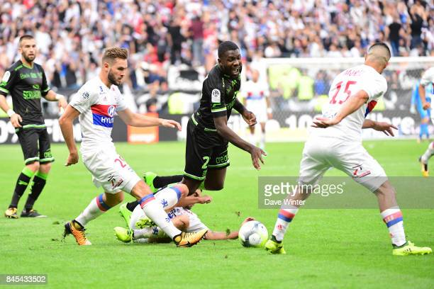 Marcus Thuram of Guingamp takes on the opposition defence during the Ligue 1 match between Olympique Lyonnais and EA Guingamp at Parc Olympique on...