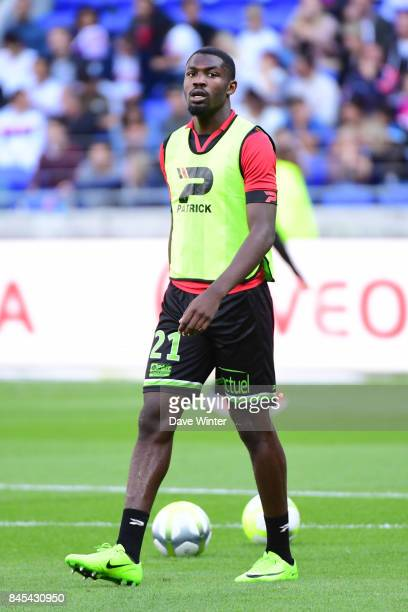 Marcus Thuram of Guingamp warms up before during the Ligue 1 match between Olympique Lyonnais and EA Guingamp at Parc Olympique on September 10 2017...