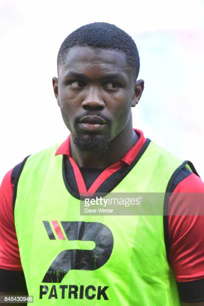 Marcus Thuram of Guingamp warms up before the Ligue 1 match between Olympique Lyonnais and EA Guingamp at Parc Olympique on September 10 2017 in Lyon...