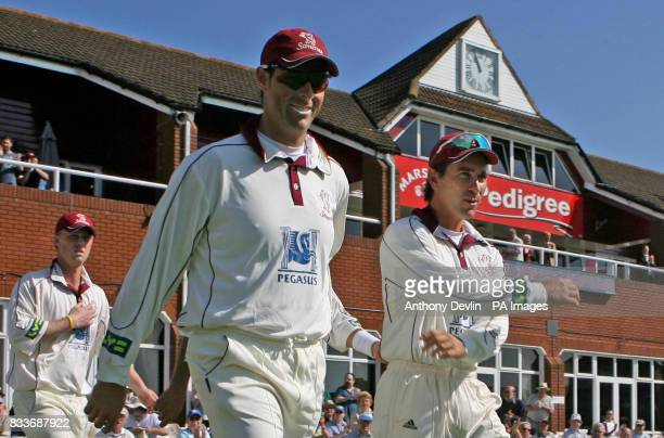 Marcus Trescothick and captain Justin Langer lead out Somerset before the Liverpool Victoria County Championship Division two match against Middlesex...