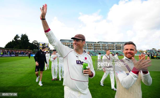 Marcus Trescothick and James Hildreth of Somerset celebrate during Day Four of the Specsavers County Championship Division One match between Somerset...