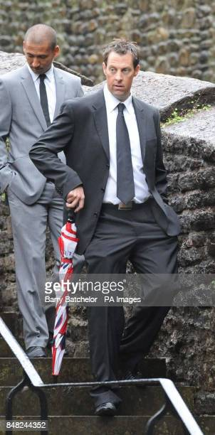 Marcus Trescothick arrives for the funeral of Tom Maynard at Llandaff Cathedral Cardiff