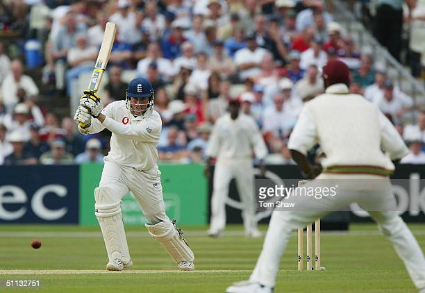 Marcus Trescothick of England hits out during day three of the England v West Indies 2nd npower Test match at Edgbaston Cricket Ground on July 31...