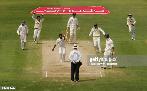 Marcus Trescothick of England is bowled by Muttiah Muralitharan of Sri Lanka for 31 runs during the 3rd Test match between England and Sri Lanka at...