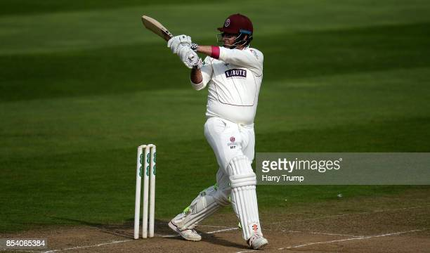 Marcus Trescothick of Somerset bats during Day Two of the Specsavers County Championship Division One match between Somerset and Middlesex at The...