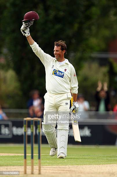 Marcus Trescothick of Somerset celebrates as he reaches his double century during day two of the LV= County Championship Division 1 match between...