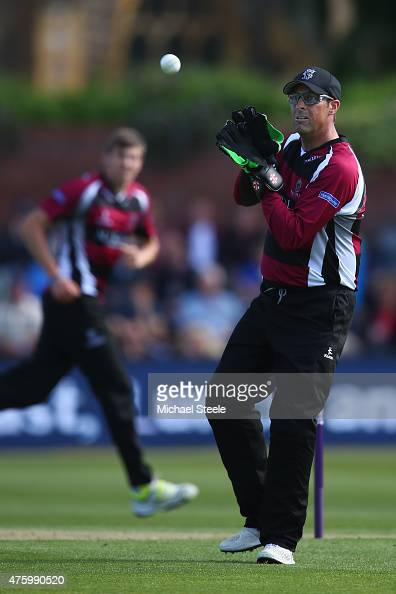 Marcus Trescothick of Somerset dons the wicketkeeping gloves during the NatWest T20 Blast match between Somerset and Hampshire at The County Ground...
