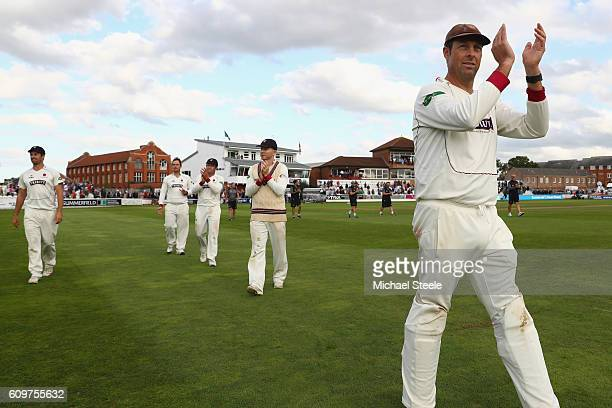 Marcus Trescothick of Somerset during a lap of honour concluding his sides 325 run victory during day three of the Specsavers County Championship...