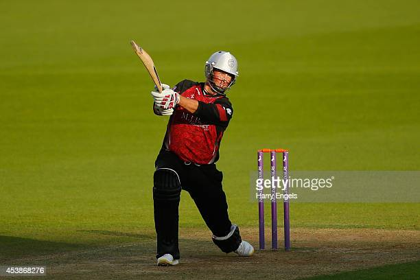 Marcus Trescothick of Somerset hits out during the Royal London OneDay Cup match between Surrey and Somerset at The Kia Oval on August 20 2014 in...