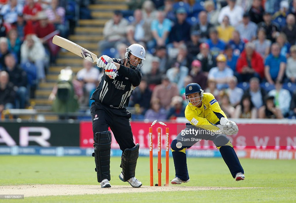 <a gi-track='captionPersonalityLinkClicked' href=/galleries/search?phrase=Marcus+Trescothick&family=editorial&specificpeople=171643 ng-click='$event.stopPropagation()'>Marcus Trescothick</a> of Somerset is bowled out during the Friends Life T20 Semi Final match between Hampshire and Somerset at SWALEC Stadium on August 25, 2012 in Cardiff, Wales.