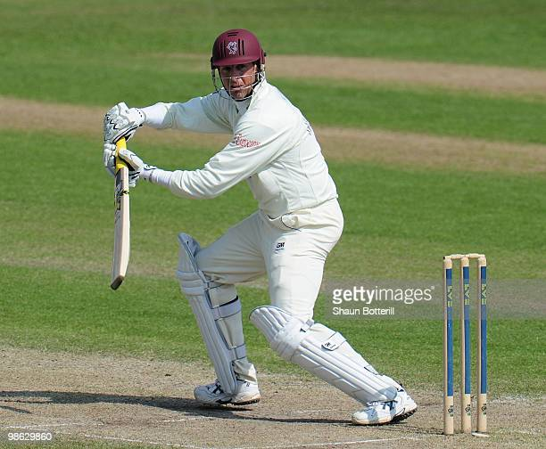 Marcus Trescothick of Somerset plays a shot during his innings of 98 during the LV County Championship match between Nottinghamshire and Somerset at...