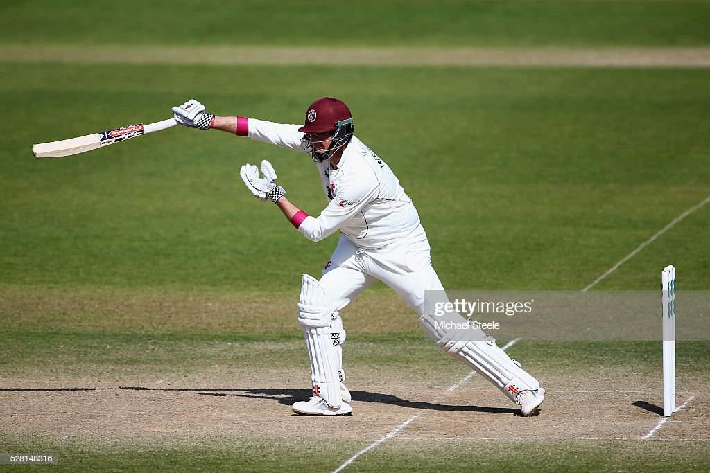 <a gi-track='captionPersonalityLinkClicked' href=/galleries/search?phrase=Marcus+Trescothick&family=editorial&specificpeople=171643 ng-click='$event.stopPropagation()'>Marcus Trescothick</a> of Somerset plays a shot through the offside one handed during day four of the Specsavers County Championship Division One match between Somerset and Lancashire at The Cooper Associates County Ground on May 4, 2016 in Somerset, United Kingdom.