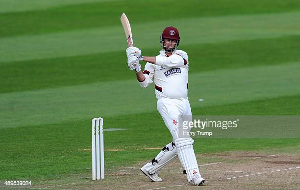 Marcus Trescothick of Somerset pulls during the LV County Championship match between Somerset and Warwickshire at the County Ground on September 22...