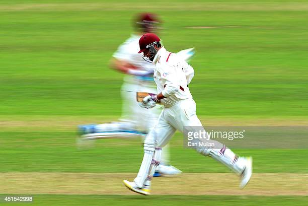 Marcus Trescothick of Somerset scores a run during day three of the LV County Championship Division One match between Somerset and Lancashire at The...