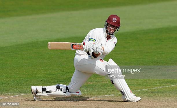 Marcus Trescothick of Somerset sweeps at the Somerset v Hampshire LV County Championship match at The County Ground on September 10 2015 in Taunton...