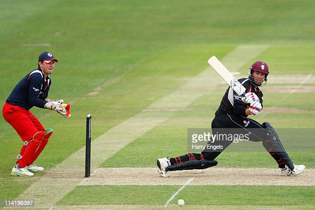 Marcus Trescothick of Somerset sweeps to the boundary during the Clydesdale Bank 40 match between Somerset and Lancashire at The County Ground on May...