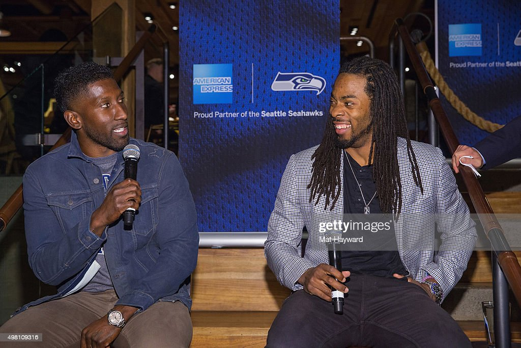 Marcus Trufant and Richard Sherman celebrate American Express Blue Friday with Card Members at the Starbucks Reserve Roastery and Tasting Room on...