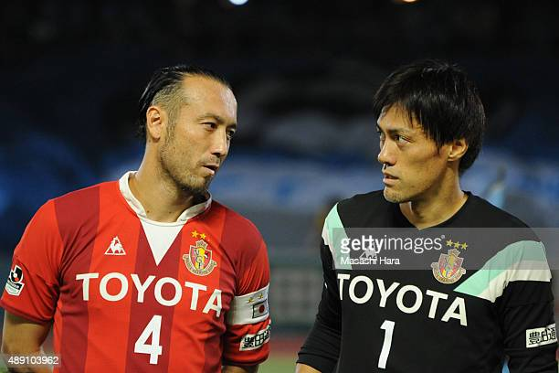 Marcus Tulio Tanaka and Seigo Narazaki of Nagoya Grampus look on prior to the JLeague match between Kawasaki Frontale and Nagoya Grampus at Kawasaki...
