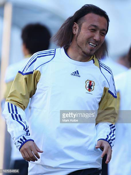 Marcus Tulio Tanaka laughs during a Japan training session at Free State Stadium on June 13 2010 in Bloemfontein South Africa