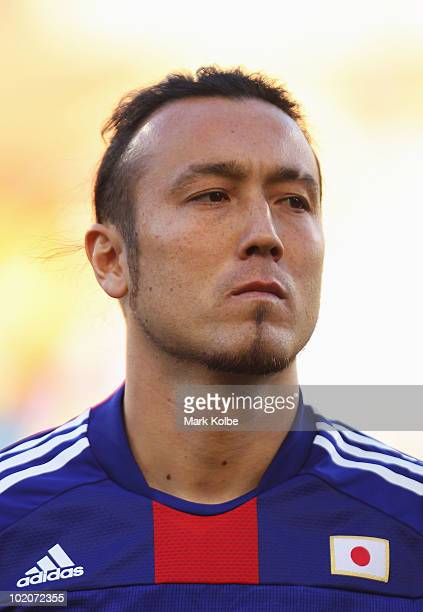 Marcus Tulio Tanaka of Japan lines up for the national anthems prior to the 2010 FIFA World Cup South Africa Group E match between Japan and Cameroon...